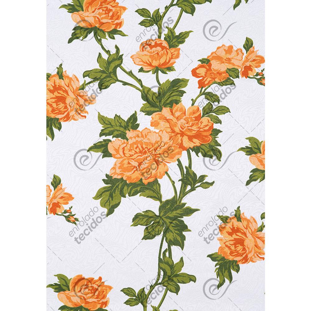 58d3f92d96 Tecido Jacquard Estampado Floral Laranja Fundo Branco - 1