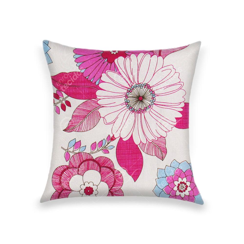 d5da675aae3a25 Capa para Almofada em Tecido Jacquard Estampado Floral Rosa