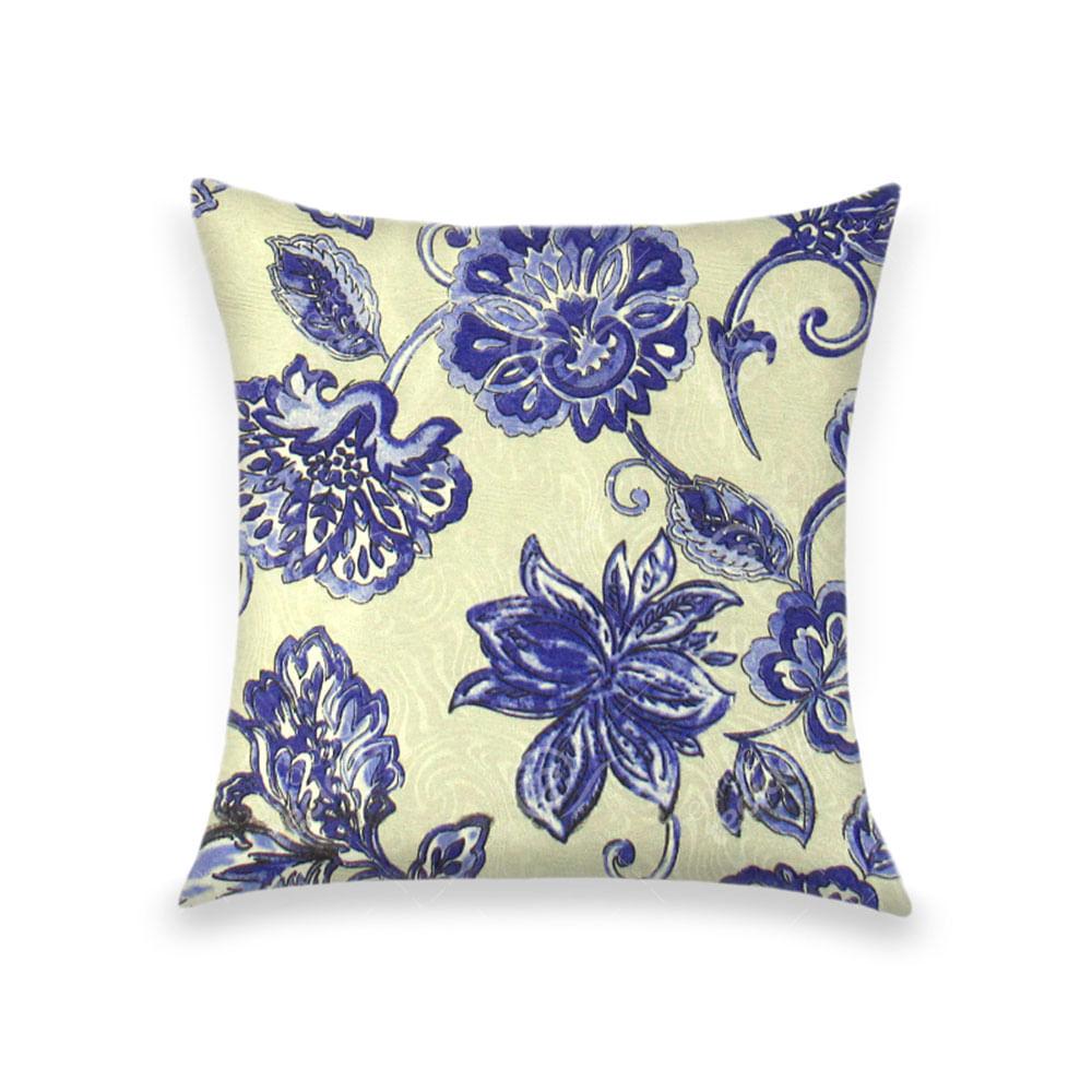 34a219f835c7de Capa para Almofada em Tecido Jacquard Estampado Floral Azul