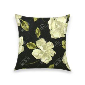 almofada-tecido-jacquard-estampado-floral-fundo-preto