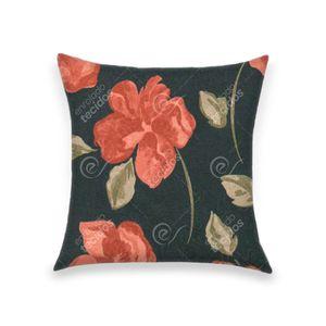 almofada-tecido-jacquard-estampado-floral-fundo-azul-marinho