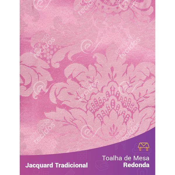 Toalha-de-Mesa-Redonda-em-Tecido-Jacquard-Rosa-Bebe-Medalhao-Tradicional