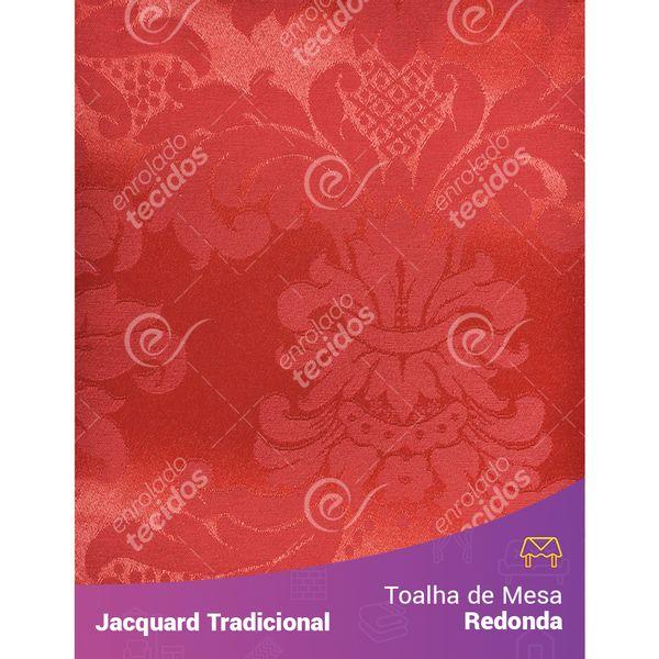 Toalha-de-Mesa-Redonda-em-Tecido-Jacquard-Vermelho-Medalhao-Tradicional