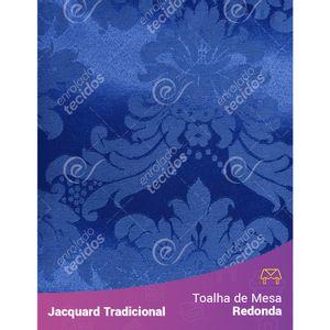 Toalha-de-Mesa-Redonda-em-Tecido-Jacquard-Azul-Royal-Medalhao-Tradicional