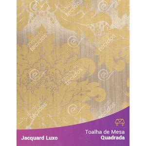 Toalha-de-Mesa-Quadrada-em-Tecido-Jacquard-Amarelo-Medalhao-Luxo
