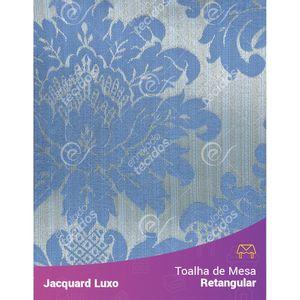 Toalha-de-Mesa-Retangular-em-Tecido-Jacquard-Azul-Medalhao-Luxo