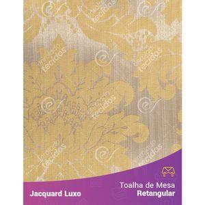Toalha-de-Mesa-Retangular-em-Tecido-Jacquard-Amarelo-Medalhao-Luxo