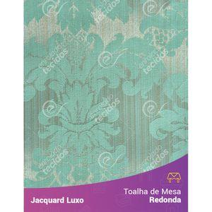 Toalha-de-Mesa-Redonda-em-Tecido-Jacquard-Azul-Tiffany-Medalhao-Luxo