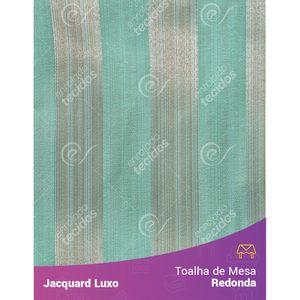 Toalha-de-Mesa-Redonda-em-Tecido-Jacquard-Azul-Tiffany-Listrado-Luxo