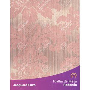 Toalha-de-Mesa-Redonda-em-Tecido-Jacquard-Rosa-Medalhao-Luxo