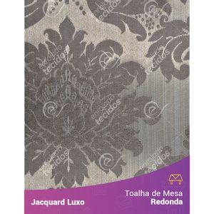 Toalha-de-Mesa-Redonda-em-Tecido-Jacquard-Cinza-Medalhao-Luxo