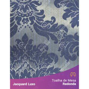 Toalha-de-Mesa-Redonda-em-Tecido-Jacquard-Azul-Escuro-Medalhao-Luxo