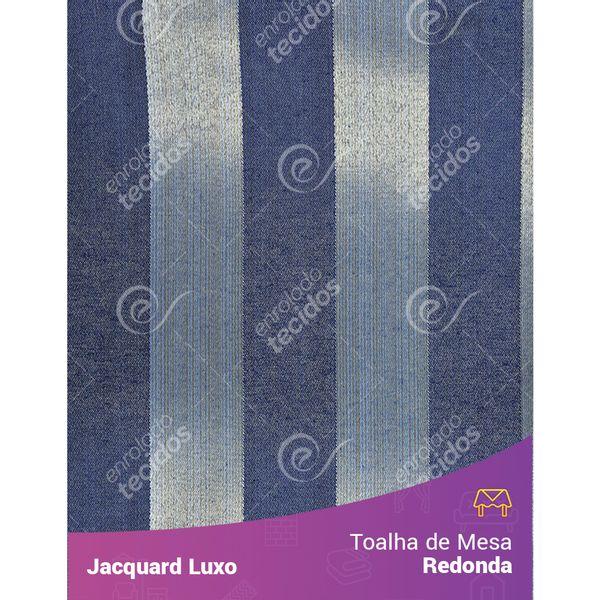 Toalha-de-Mesa-Redonda-em-Tecido-Jacquard-Azul-Escuro-Listrado-Luxo