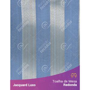 Toalha-de-Mesa-Redonda-em-Tecido-Jacquard-Azul-Listrado-Luxo
