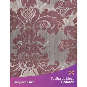 Toalha-de-Mesa-Redonda-em-Tecido-Jacquard-Vinho-Marsala-Medalhao-Luxo