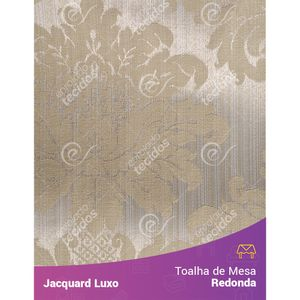 Toalha-de-Mesa-Redonda-em-Tecido-Jacquard-Bege-Medalhao-Luxo
