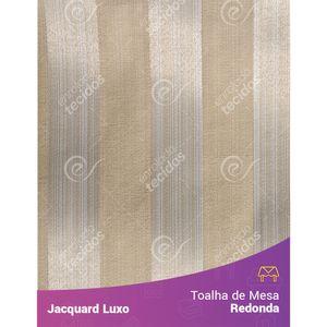 Toalha-de-Mesa-Redonda-em-Tecido-Jacquard-Bege-Listrado-Luxo