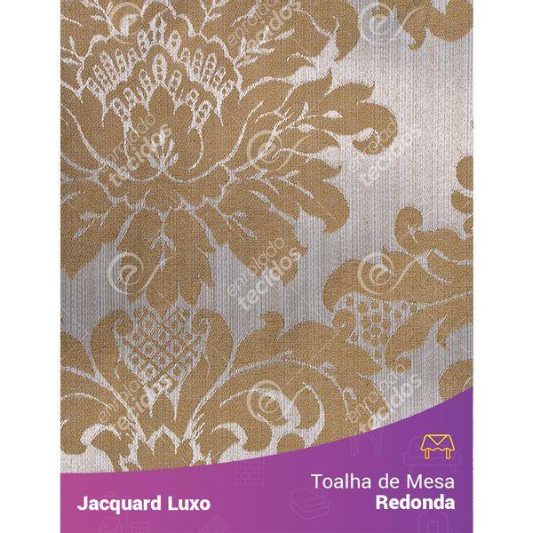 Toalha-de-Mesa-Redonda-em-Tecido-Jacquard-Dourado-Medalhao-Luxo