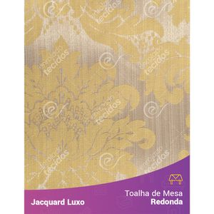Toalha-de-Mesa-Redonda-em-Tecido-Jacquard-Amarelo-Medalhao-Luxo