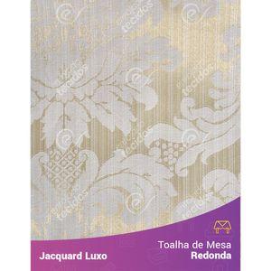 Toalha-de-Mesa-Redonda-em-Tecido-Jacquard-Bege-Claro-Medalhao-Luxo