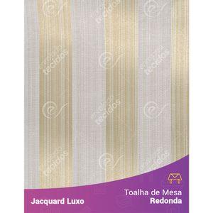 Toalha-de-Mesa-Redonda-em-Tecido-Jacquard-Bege-Claro-Listrado-Luxo
