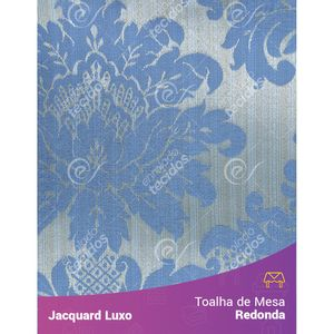 Toalha-de-Mesa-Redonda-em-Tecido-Jacquard-Azul-Medalhao-Luxo