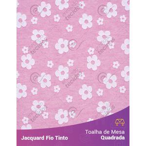 Toalha-Quadrada-em-Tecido-Jacquard-Florzinha-Baby-Rosa-Bebe-e-Branco-Fio-Tinto