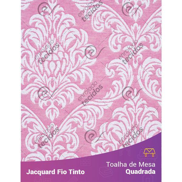 Toalha-Quadrada-em-Tecido-Jacquard-Rosa-Bebe-e-Branco-Medalhao-Fio-Tinto