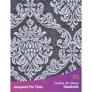 Toalha-Quadrada-em-Tecido-Jacquard-Preto-e-Branco-Medalhao-Fio-Tinto