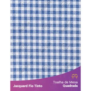 Toalha-Quadrada-em-Tecido-Jacquard-Azul-Royal-e-Branco-Xadrez-Fio-Tinto