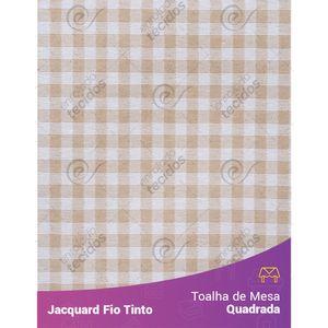 Toalha-Quadrada-em-Tecido-Jacquard-Bege-e-Branco-Xadrez-Fio-Tinto
