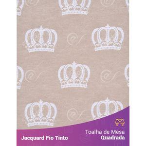 Toalha-Quadrada-em-Tecido-Jacquard-Bege-e-Branco-Coroa-Fio-Tinto