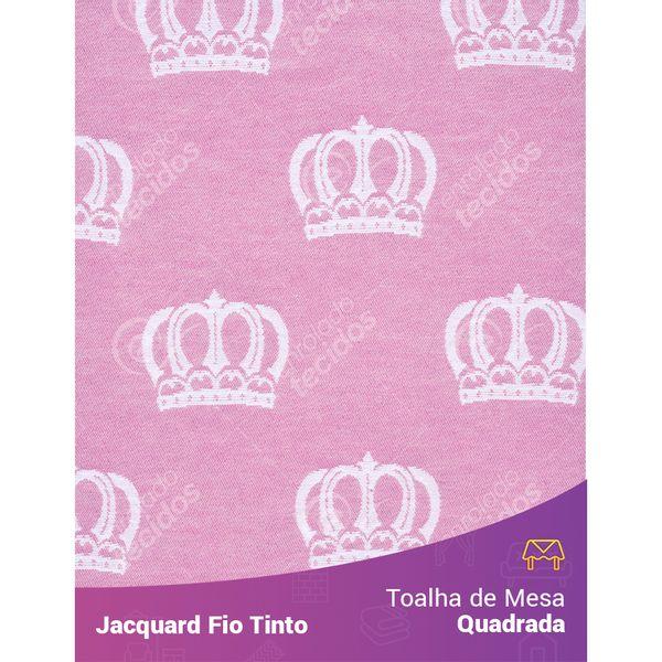 Toalha-Quadrada-em-Tecido-Jacquard-Rosa-Bebe-e-Branco-Coroa-Fio-Tinto