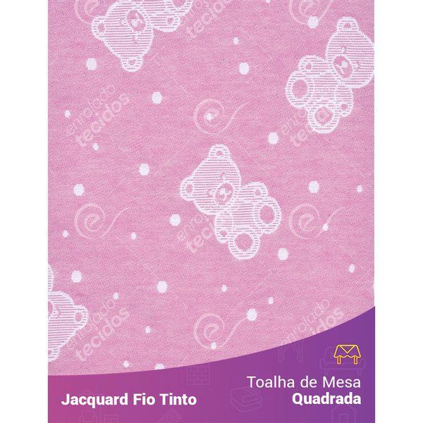 Toalha-Quadrada-em-Tecido-Jacquard-Rosa-Bebe-e-Branco-Ursinho-Baby-Fio-Tinto