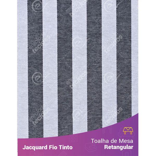Toalha-Retangular-em-Tecido-Jacquard-Preto-e-Branco-Listrado-Fio-Tinto