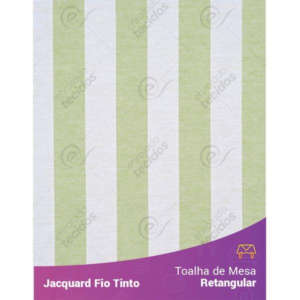 Toalha-Retangular-em-Tecido-Jacquard-Verde-Claro-e-Branco-Listrado-Fio-Tinto
