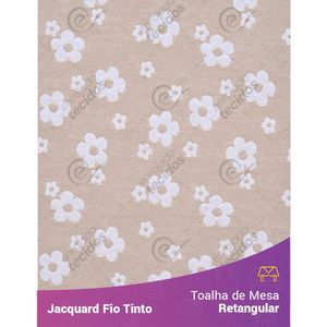 Toalha-Retangular-em-Tecido-Jacquard-Florzinha-Baby-Bege-e-Branco-Fio-Tinto
