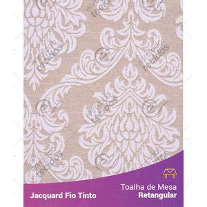 Toalha-Retangular-em-Tecido-Jacquard-Bege-e-Branco-Medalhao-Fio-Tinto