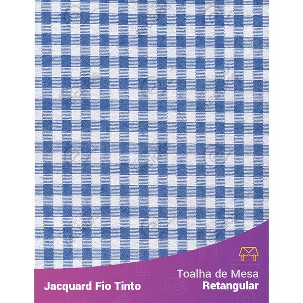 Toalha-Retangular-em-Tecido-Jacquard-Azul-Royal-e-Branco-Xadrez-Fio-Tinto