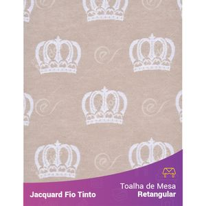 Toalha-Retangular-em-Tecido-Jacquard-Bege-e-Branco-Coroa-Fio-Tinto
