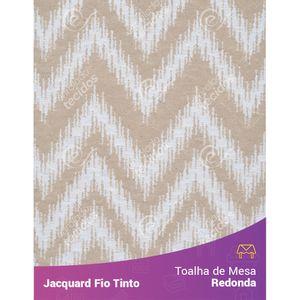 Toalha-Redonda-em-Tecido-Jacquard-Bege-e-Branco-Chevron-Fio-Tinto