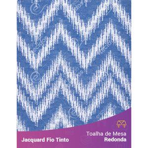 Toalha-Redonda-em-Tecido-Jacquard-Azul-Royal-e-Branco-Chevron-Fio-Tinto