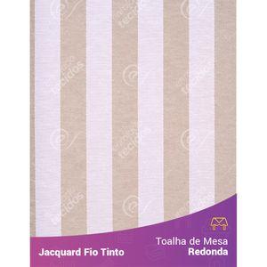 Toalha-Redonda-em-Tecido-Jacquard-Bege-e-Branco-Listrado-Fio-Tinto