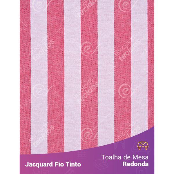 Toalha-Redonda-em-Tecido-Jacquard-Vermelho-e-Branco-Listrado-Fio-Tinto