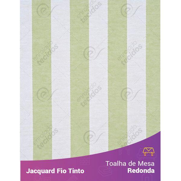 Toalha-Redonda-em-Tecido-Jacquard-Verde-Claro-e-Branco-Listrado-Fio-Tinto