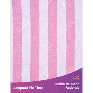 Toalha-Redonda-em-Tecido-Jacquard-Rosa-Bebe-e-Branco-Listrado-Fio-Tinto