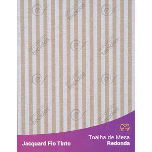 Toalha-Redonda-em-Tecido-Jacquard-Bege-e-Branco-Listrado-Estreito-Fio-Tinto