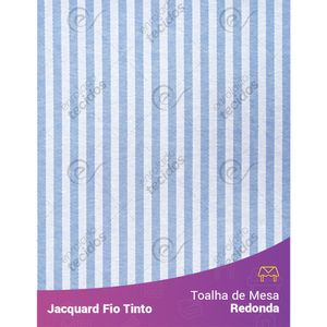 Toalha-Redonda-em-Tecido-Jacquard-Azul-Bebe-e-Branco-Listrado-Estreito-Fio-Tinto