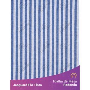 Toalha-Redonda-em-Tecido-Jacquard-Azul-Royal-e-Branco-Listrado-Estreito-Fio-Tinto