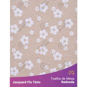 Toalha-Redonda-em-Tecido-Jacquard-Florzinha-Baby-Bege-e-Branco-Fio-Tinto